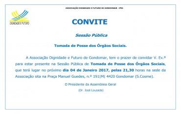 CONVITE  SESSÃO PÚBLICA | TOMADA DE POSSE ÓRGÃOS SOCIAIS